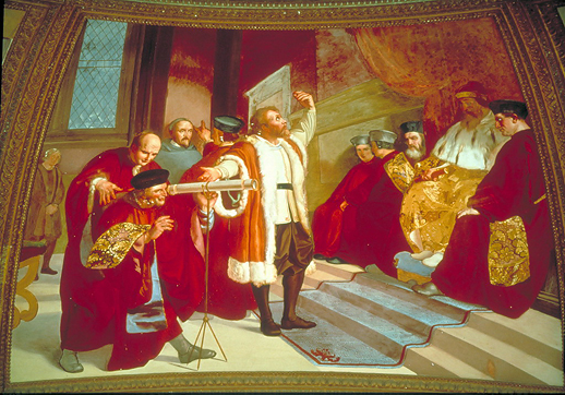 Galileo presenta al Doge e al Senato Veneto il suo cannocchiale. Affresco di Luigi Sabatelli.