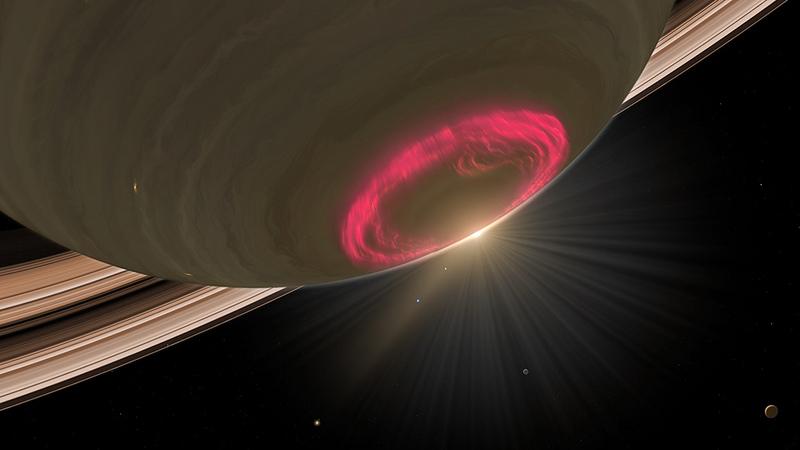 Ovale aurorale al polo di Saturno, visibile nell'UV.