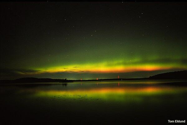 Aurora dal colore verdastro